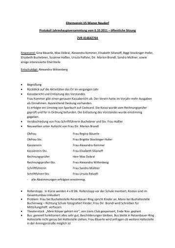 Protokoll der Jahreshauptversammlung Oktober ... - Wiener Neudorf