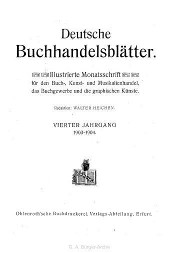 Buchhandelsblätter. - Leben und Werk des Dichters Gottfried August ...