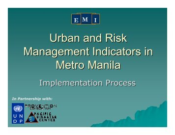 Urban and Risk Management Indicators in Metro Manila