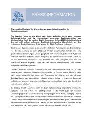 The Leading Hotels of the World, Ltd. erneuert Kriterienkatalog für ...