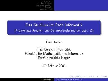Das Studium im Fach Informatik - [Projekttage Studien- und ...