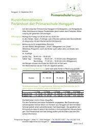 Kurzinformationen Ferienhort der Primarschule Henggart