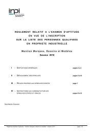 REGLEMENT RELATIF A L'EXAMEN D'APTITUDE EN VUE ... - Inpi