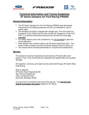 Technical Information and Tuning Guidelines ZF ... - Ford Racing