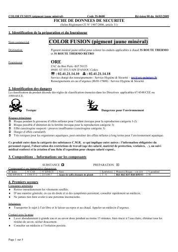 COLOR FUSION (pigment jaune minéral) - 3S signalisation produits ...