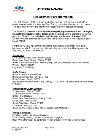 Replacement Part Information - Ford Racing Parts