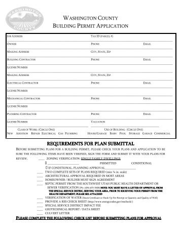 Building Permit Application and Checklist for Submittal - Washington ...