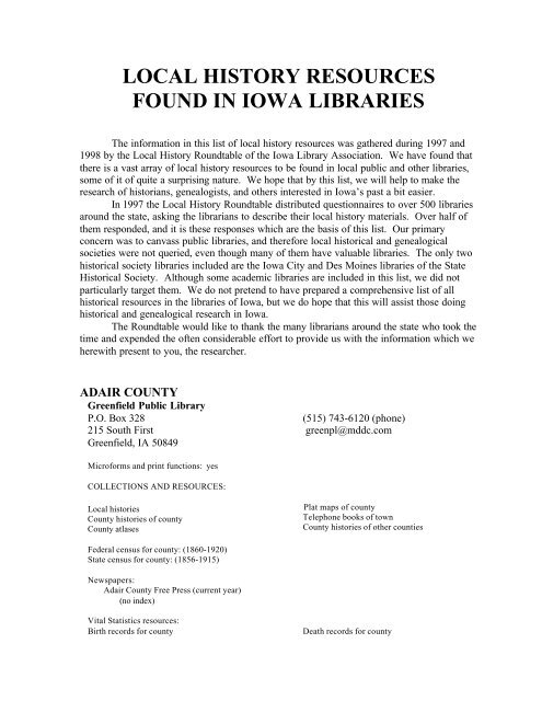 local history resources found in iowa libraries - State Historical ...