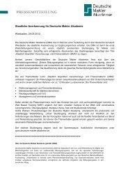 Staatliche Anerkennung für Deutsche Makler Akademie