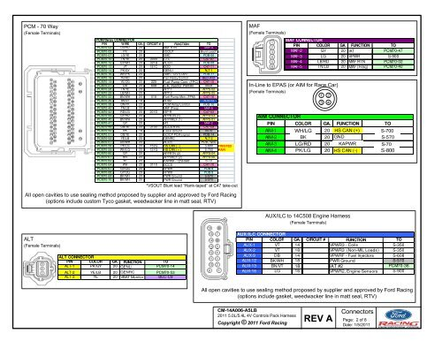 PCM - 70 Way ( Term A P Ford Pcm Wiring Diagram on