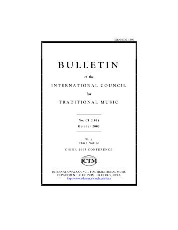 Oct 2002 - International Council for Traditional Music