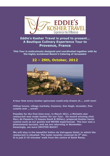 Provence, France 22 – 29th, October, 2012 - Kosher Travelers