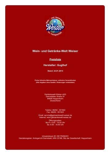 Preisliste für Hersteller: Guglhof - und Getränke-Welt Weiser