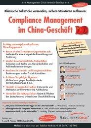 Compliance Management im China-Geschäft - Management Circle AG
