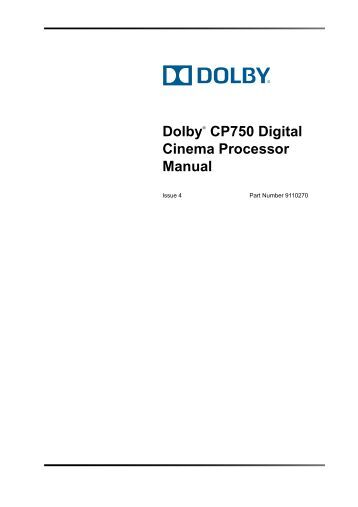 Cp750 digital cinema processor manual