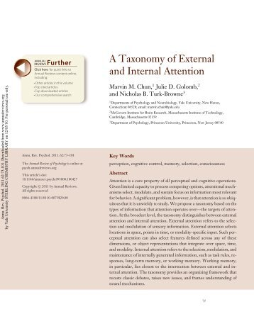 A Taxonomy of External and Internal Attention - Marvin Chun's ...