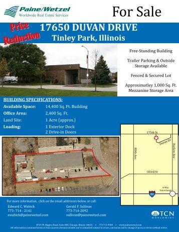 17650 DUVAN DRIVE Tinley Park, Illinois - Paine/Wetzel