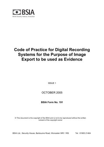 Code of Practice for Digital Recording Systems for ... - IP UserGroup