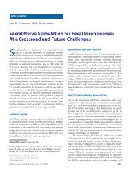 Sacral Nerve Stimulation for Fecal Incontinence: At a Crossroad and ...
