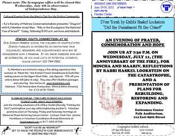 D'var Torah by Rabbi Haskel Lookstein - Congregation Kehilath ...