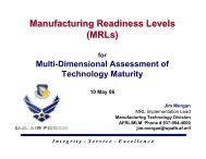 Manufacturing Readiness Levels (MRLs)
