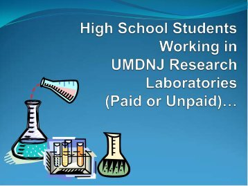 High School Students Working (paid or unpaid) in UMDNJResearch ...