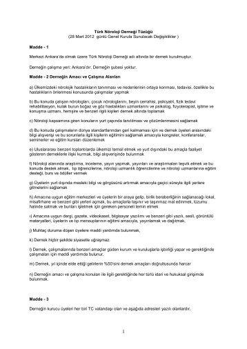 Madde - 1 Merkezi Ankara'd - Türk Nöroloji Derneği