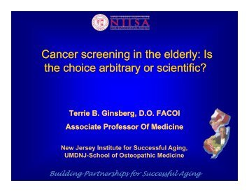 Cancer screening in the elderly: Is g y the choice arbitrary or ...