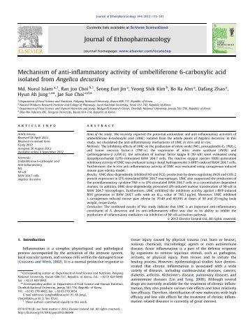 Mechanism of anti-inflammatory activity of umbelliferone 6 ...