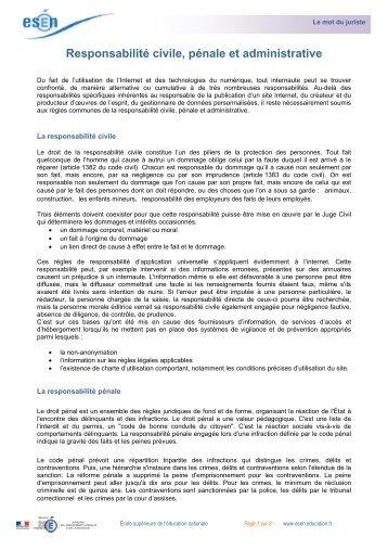 Responsabilité civile, pénale et administrative