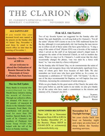 2012-11 November Clarion - St. Clement's Episcopal Church
