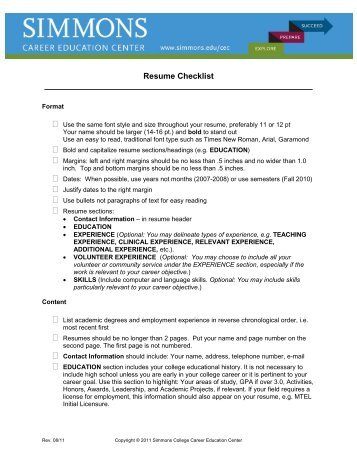 Resume Critique Checklist Resumes normally get less than a 15 ...