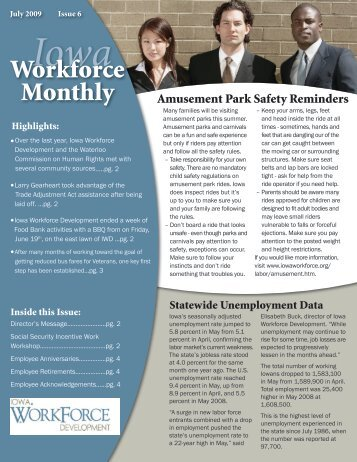 July 2009 - Issue 6 - Iowa Workforce Development