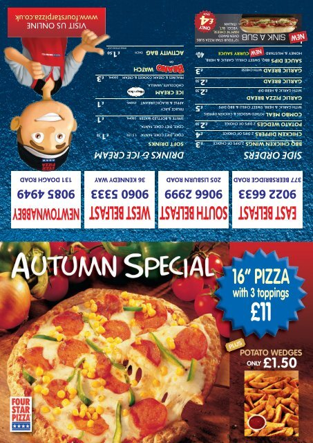 Menu For Four Star Pizza South Belfast Northern Ireland