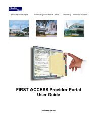 FIRST ACCESS Provider Portal User Guide - Health First