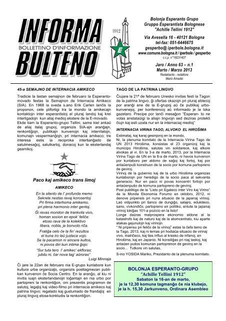 INF BUL marzo 2013 (1) - Federazione Esperantista Italiana