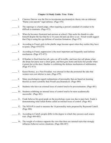 Chapter 14 Study Guide: True / False _____ 1. Clarence Darrow ...