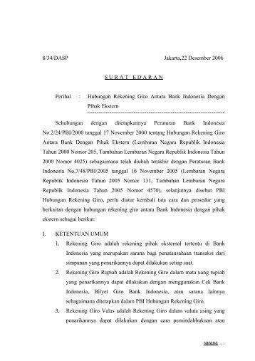 Hubungan Rekening Giro Antara Bank Indonesia Dengan Pihak ...