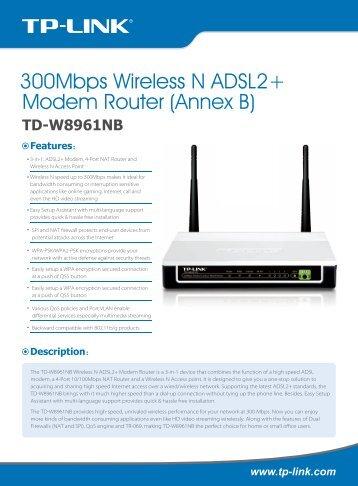 TP-LINK TD-W8961NB Router (Annex B) Driver (2019)