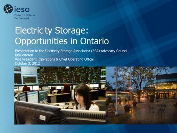 Electricity Storage: Opportunities in Ontario - IESO
