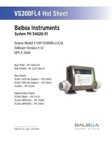 54626-01, VSP-VS300FL4-CCAJ - Balboa Direct