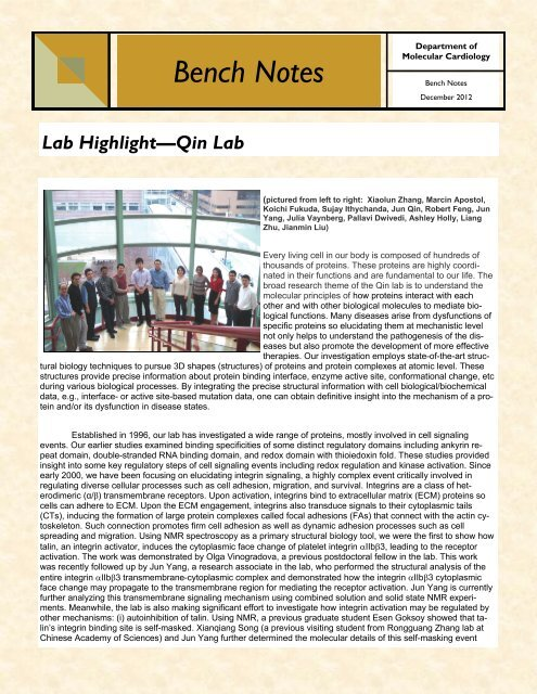 Bench Notes 2012 - Cleveland Clinic Lerner Research Institute