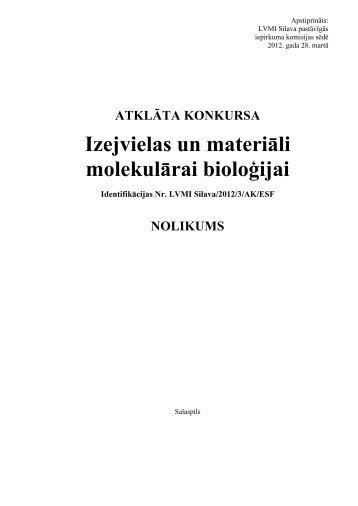 Izejvielas un materiāli molekulārai bioloģijai - Silava