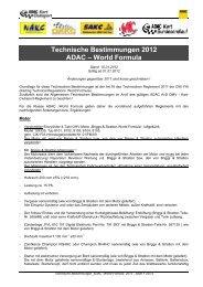 Technische Bestimmungen 2012 ADAC – World Formula - wakc