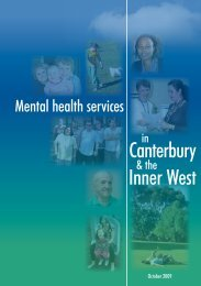 Canterbury and Inner West Mental Health Service Directory