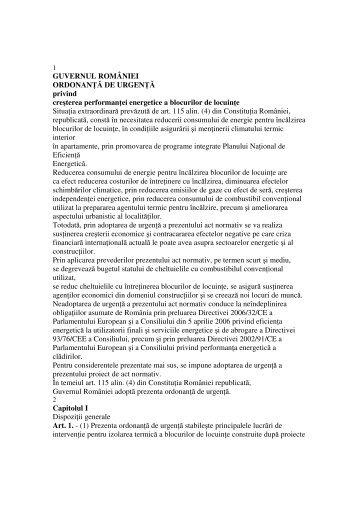 Proiect OUG ref cresterea performantei energetice a ... - araco