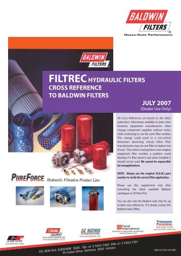 filtrechydraulic filters cross reference to baldwin filters july 2007