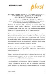 Plus! programme to provide personalised service at ... - OCBC Bank