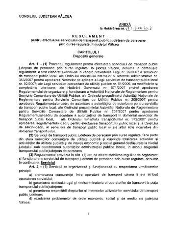 1. Regulament pentru efectuarea serviciului de transport public ...