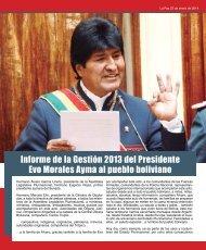 Informe de la Gestión 2013 del Presidente Evo Morales Ayma al pueblo boliviano